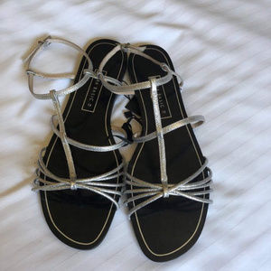 Zara Silver Caged Ankle Strap Open Toe Sandals 38